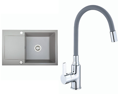 £146.99 • Buy Granite Sink Alkor CC With Lentis Faucet And Waste Set | Grey | 78cm X 50 Cm