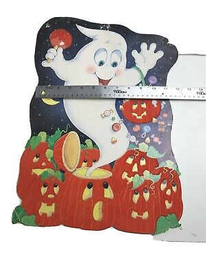 "$ CDN30.52 • Buy 1 16"" Vintage Halloween Paper Die Cut Double Sided Felt Pumpkins And Ghost"