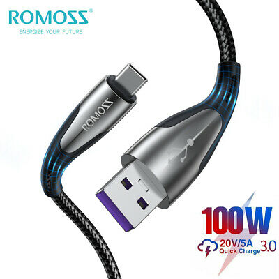 AU9.99 • Buy ROMOSS 100W USB Type-C Cable 5A SuperCharge For Macbook Laptop Tablet Phone