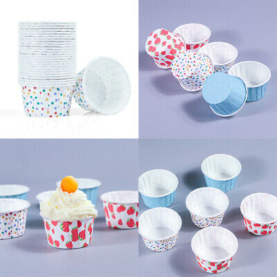 100Pcs Disposable Ice Cream Dessert Cups Paper Treat Tubs  Bowls Party Supplies • 8£