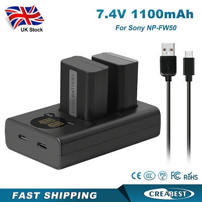 £22.89 • Buy 2x1100mAh 7.4V NP-FW50 Battery & Dual Charger For Sony Alpha A7 A7ii A6300 A6000