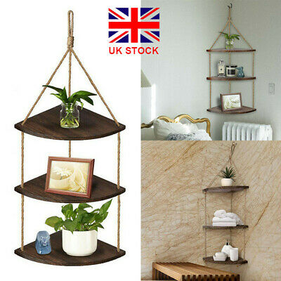 Retro Wall Corner Floating Shelf Rope Wood Hanging Rack Potted Plants Organizer • 13.79£