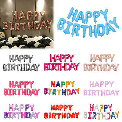 £2.99 • Buy Happy Birthday Balloons Banner Bunting Letter Foil Balloon Party Self Inflating