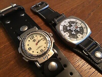 Skull Crossbones Watch Lot: Paul Frank & Fly X Wide Leather Bands New Batteries • 18.35£