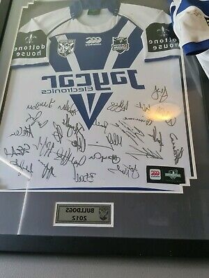 AU350 • Buy 2012 Canterbury Bulldogs Signed And Framed Jersey