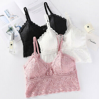 AU12.38 • Buy Women Wireless Bra Padded Bralette Deep V Lace Bras Summer Crop Top Tank  Ws W8E