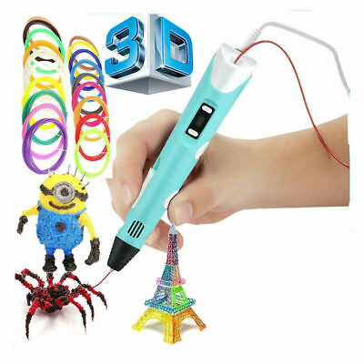 AU19.99 • Buy 3D Printing Pen Crafting Drawing Art Printer PLA ABS LCD Screen Free Filaments