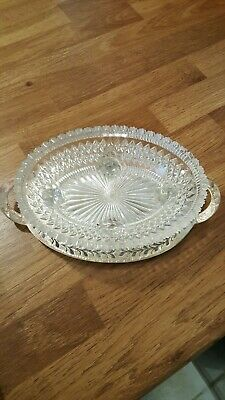 Silver Plated Tray And Cut Glass Butter Dish  L14cm  • 15£