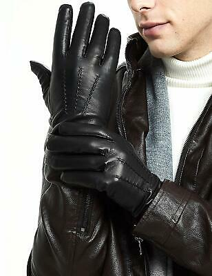 MENS 100% LEATHER GLOVES Gents Genuine Leather Classic Black Driving Glove M-XXL • 8.95£
