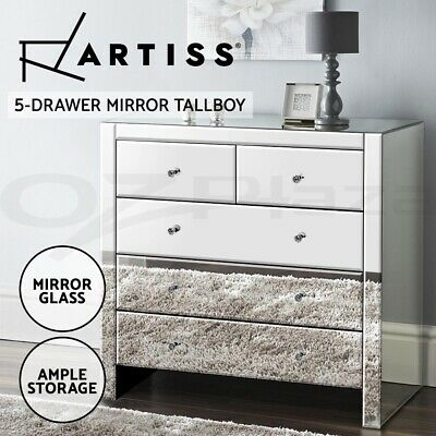 AU423.90 • Buy Artiss Chest Of Drawers Tallboy Dresser Table Mirrored 5 Drawers Storage Cabinet