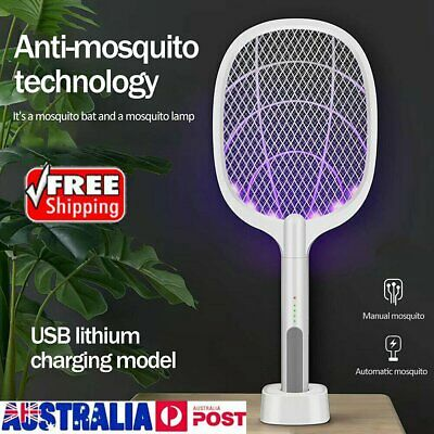 AU31.96 • Buy Electric USB Rechargeable Racket Fly Swatter Mosquito Insect Killer Bug Zapper