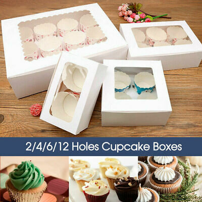 AU16.98 • Buy 10xCupcake Boxes 1/2/4/6/12 Holes Clear Window Cupcake Display Boxes Muffin Cups
