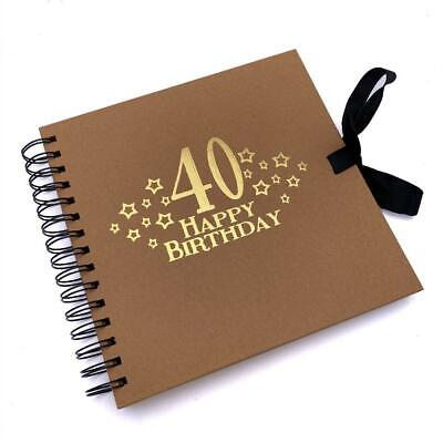 £11.99 • Buy 40th Birthday Brown Scrapbook, Guest Book Or Photo Album With Gold Script