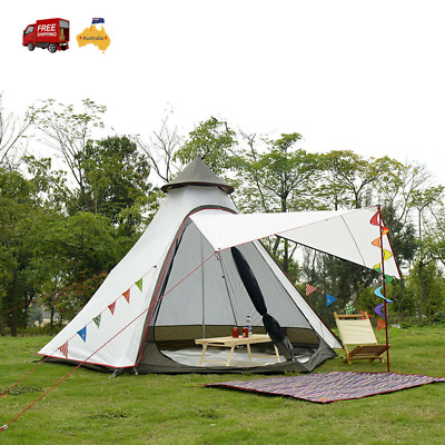AU218.34 • Buy Waterproof Mesh Teepee Camping Tipi Tent Family Double Skin 4-person LightWeight