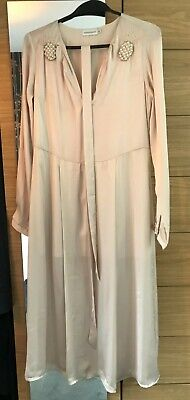 Paraphase Champagne Midi Silk Dress With Pineapple Pearl Details Size S • 4.50£