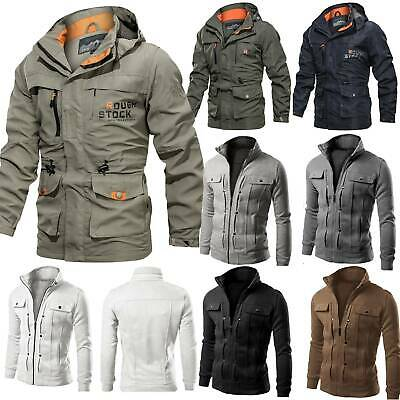 $26.88 • Buy Mens Military Combat Tactical Jacket Coat Hooded / Stand Collar Slim Outerwear