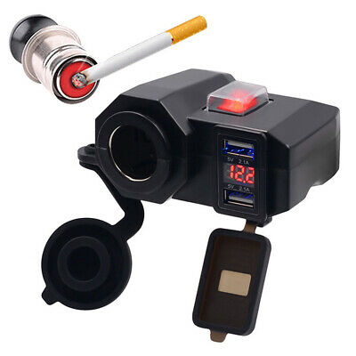 Waterproof Motorcycle Dual USB Charger Cigar Lighter Socket LED Voltmeter 12V • 11.13£