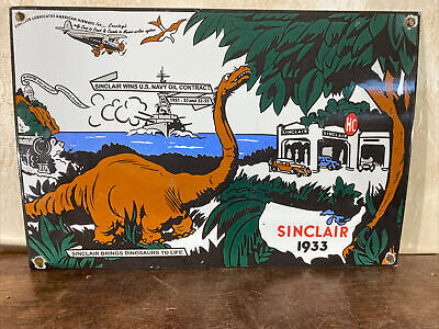 $ CDN149.42 • Buy Large Vintage 1933 ''sinclair''  Porcelain Gas & Oil Sign 18x12 Inch Great Sign!