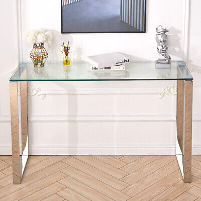 Console Coffee End Table Clear Tempered Glass Furniture Steel Chrome Leg Hallway • 98.95£