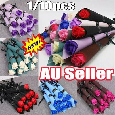 AU7.99 • Buy 1~10 X Lot Soap Rose Artificial Flower For Girlfriend Valentine's Day Gift Love