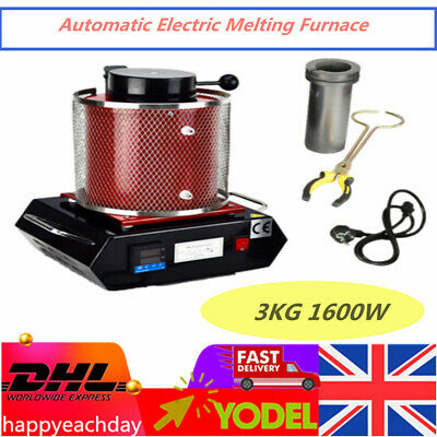 3KG Auto Electric Melting Furnace Metal Gold Silver Graphite Crucible Melter • 249£