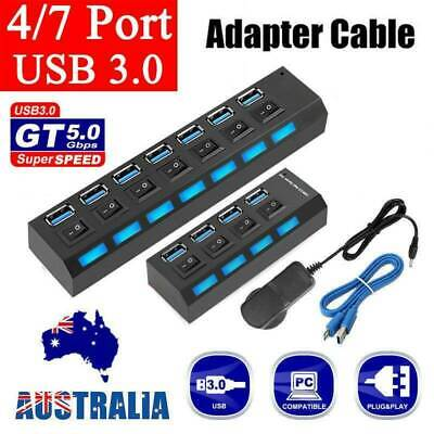 AU16.79 • Buy 4/7 Ports USB 3.0 HUB Powered +High Speed Splitter Extender PC AC Cable Adapter
