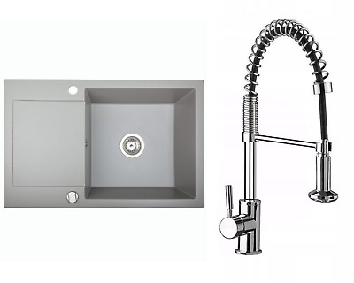 £173.99 • Buy Granite Sink Alkor CC With Kubo Faucet And Waste Set | Grey | 78cm X 50 Cm