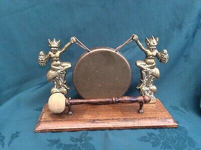 Vintage Brass Double Pixie Dinner Gong On A Rectangular Wooden Base With Striker • 34£