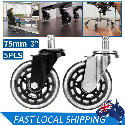 AU23.89 • Buy 5pcs 75mm Rollerblade Office Chair Wheels Replacement Mute Rolling Caster 3  In