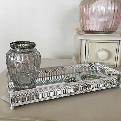 £19.95 • Buy Mirror Glass Decorative Vintage White Metal Plate Candle Perfume Display Tray