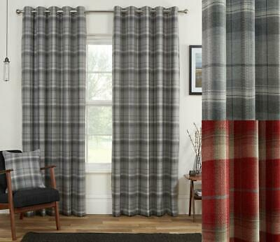 £86.99 • Buy 1 Pair SCOTLAND Blackout Highland Tartan Check Eyelet Ring Top Lined Curtains