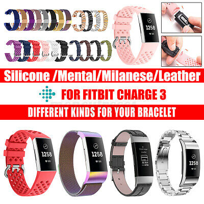 AU11.99 • Buy For Fitbit Charge 3 Bands Canvas/Silicon/Metal Replacement Wristband Watc