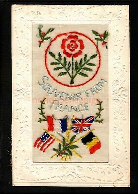 Wwi Embroidered Souvenir From France Allies Flags Silk Postcard 1918 - 10 • 3£