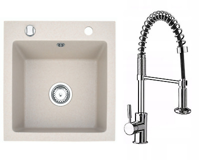 £143.99 • Buy Granite Sink Milano With Kubo Faucet And Waste Set | Sand | 48 Cm X 50 Cm