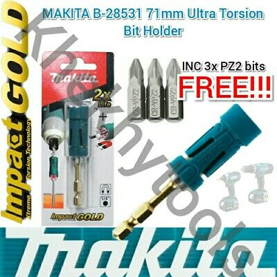 Makita Impact Gold Magnetic Bit Holder + 3x PZ2 BITS Fit DeWalt Bosch Hilti AEG • 10.30£