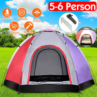 5-6 Person Camping Tent Waterproof Outdoor Ultraviolet-proof Hiking Backpack UK • 44.25£