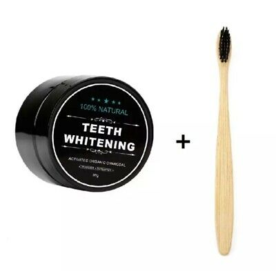 AU11.78 • Buy Activated Coconut Charcoal Teeth Whitening Powder 100% + Bamboo Toothbrush Kit