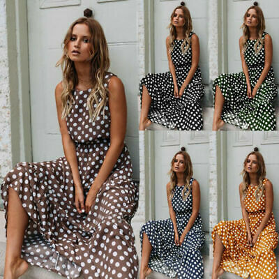 Womens Summer Polka Dot Maxi Dress Ladies Beach Holiday Long Dresses Sundress # • 13.99£