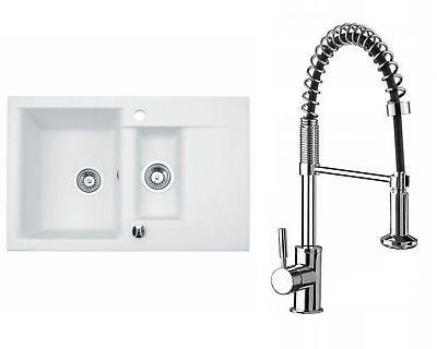 £212.99 • Buy Granite Sink Estein 1.5K With Kubo Faucet And Waste Set |White| 78cm X 50cm