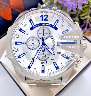 $ CDN145.73 • Buy Diesel Mega Chief Stainless Steel White Dial Chronograph Watch DZ4477 TWO LEFT