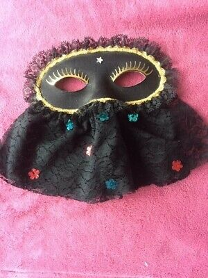 £5.95 • Buy Black Decorated Ladies Mask Suitable For Masked Ball Or Fancy Dress