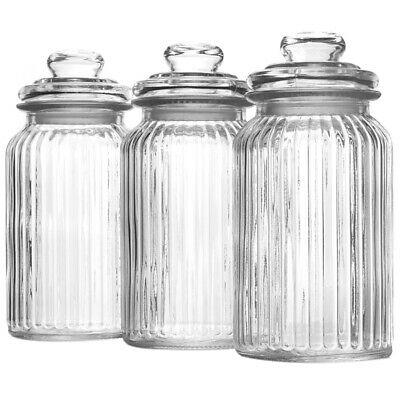 Stylish Glass Clear Jar & Lid Tea Tin Candy Jar Sweet Container With Lid 3 Sizes • 7.79£