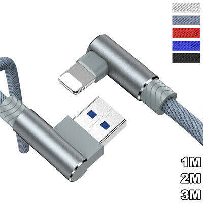 90° Elbow Lead For IPhone 11 12 Pro X XS IPad USB Data Fast Charge Charger Cable • 3.27£