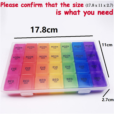 Weekly Pill Box 7 Day 28 Compartments Extra Large Pill Box Tablet Organiser UK   • 6.99£