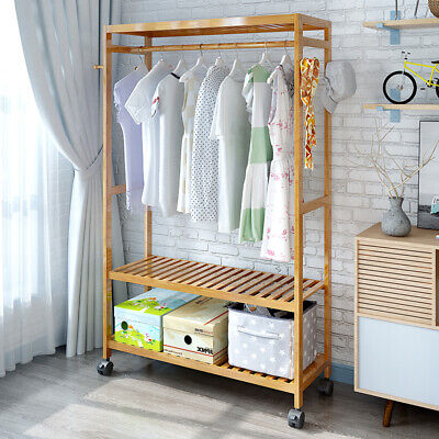 Portable Coat Garment Rack Clothes Hanging Rail Wardrobe Stand 2 Tiers 4 Hooks • 21£