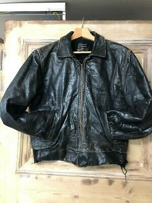 Vintage Sears Oakbrook Leather Police Bike Jacket SC2207 • 9.99£