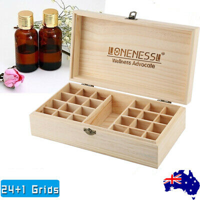 AU14.99 • Buy Essential Diffuser Oil Storage Box Wooden 25Slots Aromatherapy Organizer Case AU