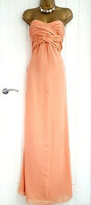 TED BAKER Size 4 14 16 Peach Full Length Maxi Dress Summer Holiday 100% Silk VGC • 38.97£