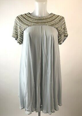 TOPSHOP Boutique • Beautiful Pale Blue Beaded Babydoll Dress • Size 10 • 15£