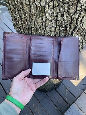 $14.99 • Buy GUCCI Large Leather Vintage Trifold Wallet For Credit Cards Checks Etc